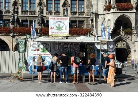 MUNICH, GERMANY - SEPTEMBER 12, 2015: German activists for Cannabis Verband collect signatures for legalization of cannabis in Germany at Marienplatz square on September 12, 2015 in Munich city.