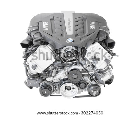 Munich, Germany - September 28, 2014: New modern flagship top model of irresistibly dynamic and incredibly efficient BMW TwinPower turbo V8-cylinder top-of-the-range petrol car engine isolated. - stock photo