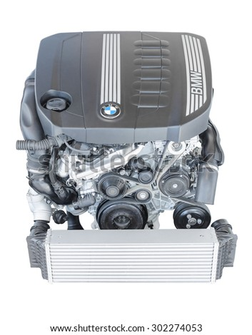 Munich, Germany - September 28, 2014: New modern powerful flagship model of efficient and dynamic car engine. BMW TwinPower turbo 3.0 litre 6-cylinder top-of-the-range diesel powerplant isolated.