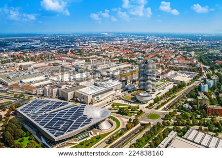 MUNICH, GERMANY - SEPTEMBER 07, 2014: panoramic view of Munich with BMW buildings from Olympic tower September 07, 2014 in Munich, Germany - stock photo