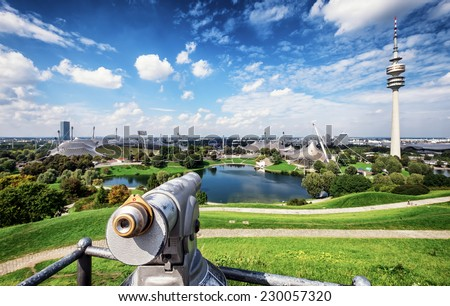Munich, Germany - TV Tower in Munich's Olympic Park (Germany) - stock photo