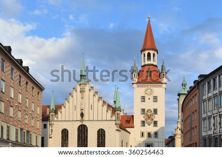 Munich, Germany. View of the Old Town in the evening