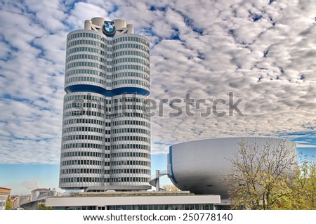 MUNICH - GERMANYOCTOBER 31: BMW building museum on June 31, 2014, Munich, Germany. The BMW Museum is located near the Olympiapark in Munich and was established in 1972 - stock photo