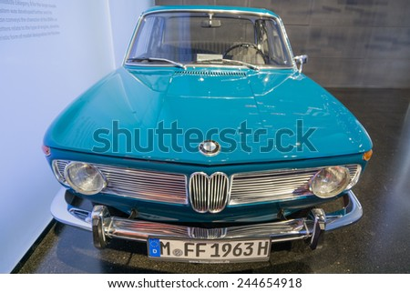 MUNICH - JANUARY 05: BMW 750 on stand display in BMW Museum on January 05, 2015 in Munich, Bavaria, Germany. - stock photo