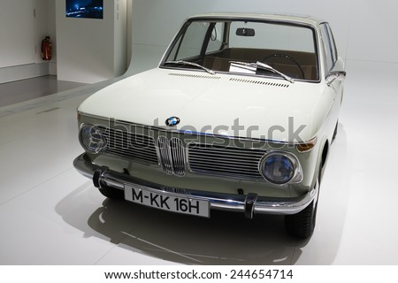 MUNICH - JANUARY 05:Old 1600 class coupe BMW on stand display in BMW Museum on January 05, 2015 in Munich, Bavaria, Germany. - stock photo