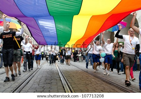 MUNICH - JULY 14: Rainbow flag at the Christopher Street Day (Gay Pride) in Munich on July 14, 2012.