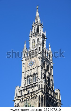 Munich Marienplatz City Hall Tower - stock photo