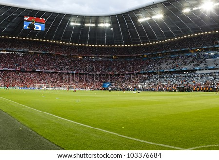 MUNICH-MAY 19 :The inside of Allianz Arenabefore FC Bayern Munich vs. Chelsea FC UEFA Champions League Final game at Allianz Arena on May 19, 2012 in Munich, Germany. - stock photo