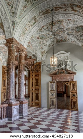 MUNICH (MUNCHEN), GERMANY - 03 MAY 2016: View to the gold luxury interior of Imperial Staircase and Imperial Hall (Kaisertreppe, Kaisersaal) in Munich Residence Museum.