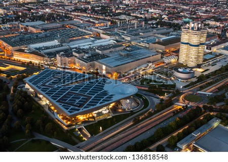 MUNICH - OCT 2: BMW Headquarter and museum on October 2, 2012. The BMW Headquarter is located near the Olympiapark in Munich and was established in 1972 shortly before the Summer Olympics. - stock photo