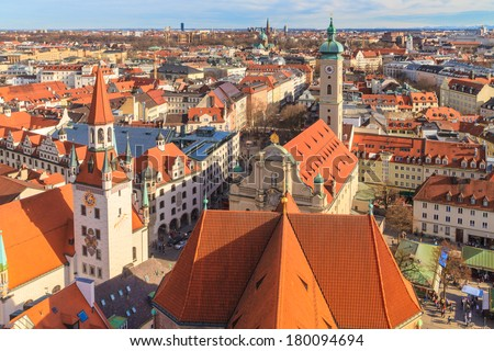 Munich Panorama with old city hall, Holy Spirit Church and Viktualienmarkt, Bavaria, Germany