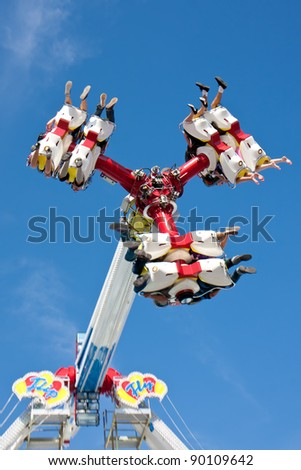 MUNICH - SEPTEMBER 17: A new carnival ride at the Oktoberfest 2011 in Munich on September 17, 2011. - stock photo