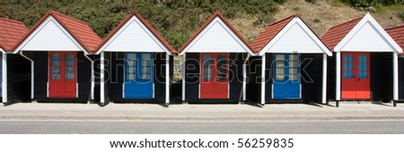 Municipal Beach Huts, Bournemouth beach, Dorset on the English south coast in summer.