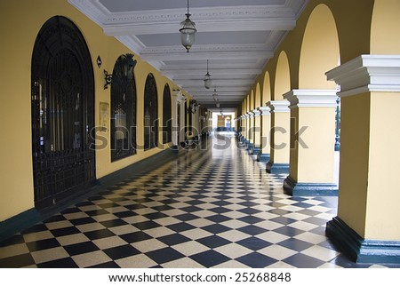 municipal building city hall on plaza mayor armas lima peru - stock photo