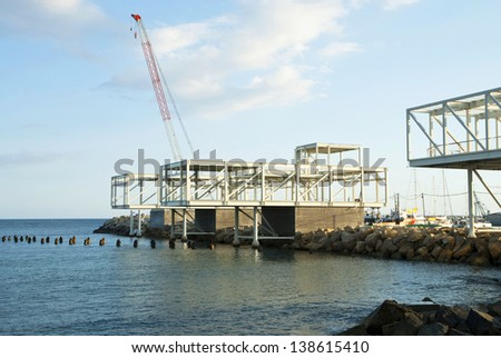 Municipal construction of a new port in Limassol,Cyprus - stock photo