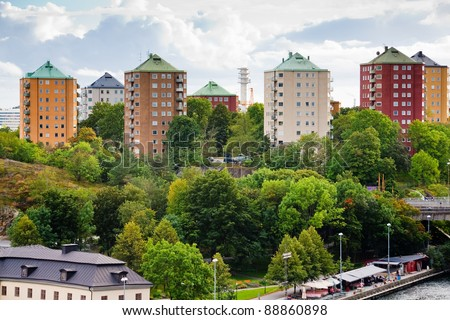 municipal houses in Stockholm, Sweden - stock photo