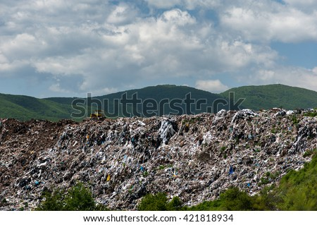 Municipal landfill for household waste - stock photo