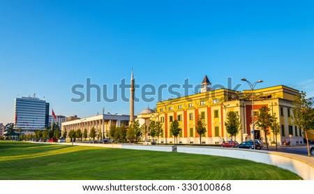 Municipality of Tirana and Palace of Culture - Albania - stock photo
