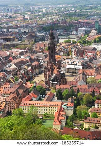 Munster and old town of Freiburg im Breisgau, Baden-Wurttemberg, Germany - stock photo