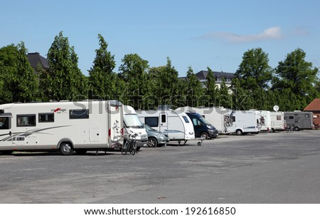 MUNSTER, GERMANY - MAY 3: Mobile homes parked in the outlying area of Munster. May 3, 2014 in Munster, North Rhine-Westphalia, Germany