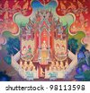 Mural Buddhist art in Thai temple, Thailand - stock photo