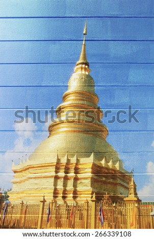 "Mural ""colour gold pagoda in temple thai""  on the wood texture , painting concept - stock photo"