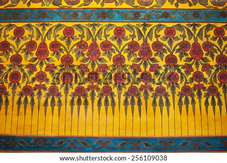 Mural  Hand Painting in Thai Temple - stock photo