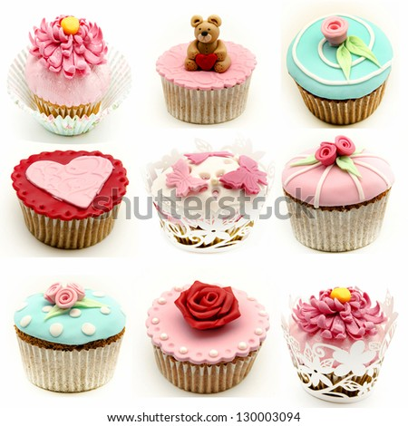Mural of several cupcakes - stock photo