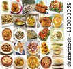 Mural of Spanish dishes - stock photo
