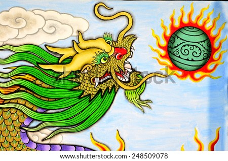 Mural oil color in Chinese Shrine  - stock photo