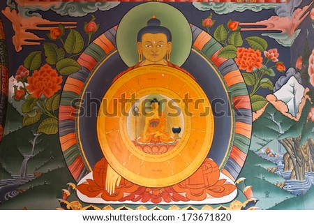 Mural painting with Lord Buddha inside the Gangtey Goemba Monastery in Phobjikha Valley in Central Bhutan - Asia - stock photo
