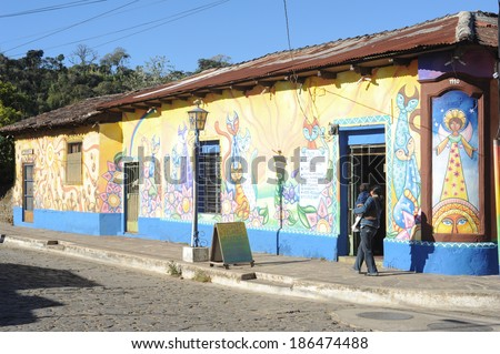 Mural paintings on home at Conception de Ataco in El Salvador, 22 February 2014