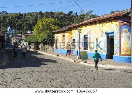 Mural paintings on house at Conception de Ataco in El Salvador, 22 February 2014