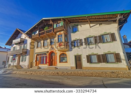 Murals or facade paintings of the houses in a small Bavarian town, Garmisch-Partenkirchen. The main driving force behind this type of painting was the people's enjoyment of the bright colors