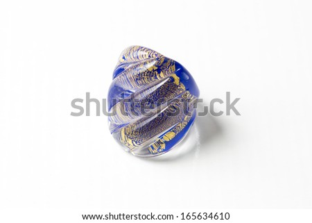 Murano glass ring Isolated on white background with light shadow. - stock photo
