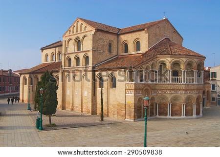 MURANO, ITALY - FEBRUARY 27, 2007: Exterior of the Santa Maria and San Donato Cathedral in Murano,  Italy. - stock photo