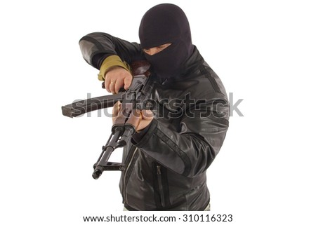 murder in a mask with a machine-gun isolated on white background