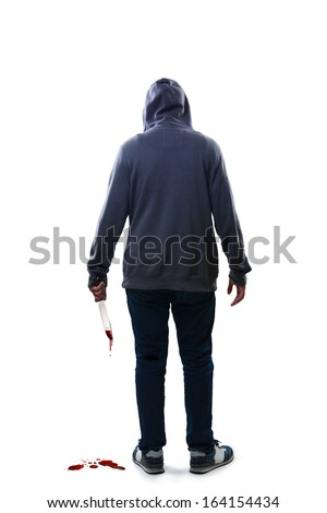 Murderer, Isolated over white background - stock photo