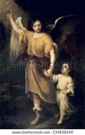 MURILLO, Bartolome Esteban (1617-1682), The Guardian Angel, c. 1665, Sevilla, Cathedral - stock photo