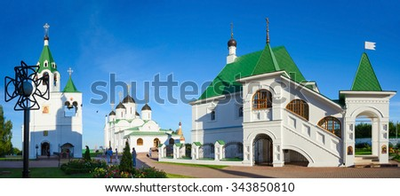 MUROM, RUSSIA - AUGUST 23, 2015: Church of St. Basil of Ryazan in rectory house, the Transfiguration Cathedral and the Church of the Intercession in the Holy Transfiguration Monastery, Murom, Russia - stock photo