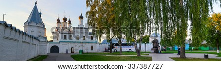 MUROM, RUSSIA - AUGUST 23, 2015: Unknown pilgrims are near the famous Holy Annunciation Monastery and monument to Holy Righteous Peter and Fevronia Muromsky patrons of family and marriage in Russia
