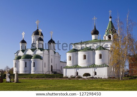 Murom Transfiguration Cathedral and Saint Basil Church - stock photo