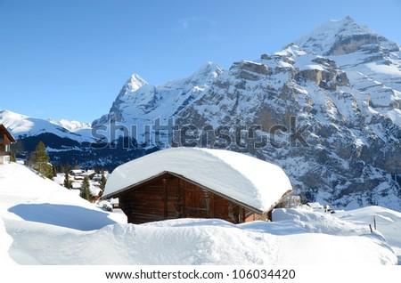 Murren, famous Swiss skiing resort - stock photo