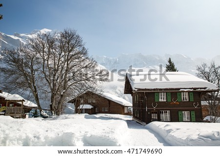 Murren, Switzerland - March 13, 2016: Winter landscape in the Swiss Alps.