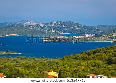 Murter island archipelago and town of Betina view, Dalmatia, Croatia