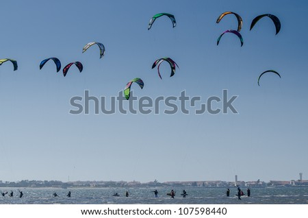 MURTOSA, PORTUGAL - JULY 14: Participants in the Portuguese National Kitesurf Championship 2012 on july 14, 2012 in Murtosa, Portugal.