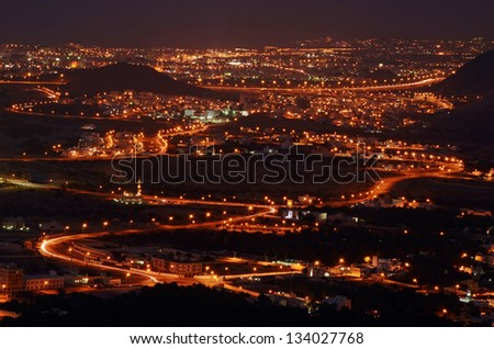 Muscat city in the night, Oman - stock photo