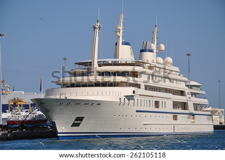 Muscat, Oman - Jan, 02: The yacht of the Sultan of Oman moored in Muscat Harbor on January, 02, 2014. Muscat, Oman - stock photo