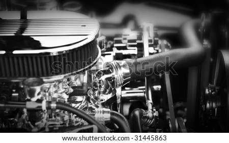 Muscle car engine block - stock photo