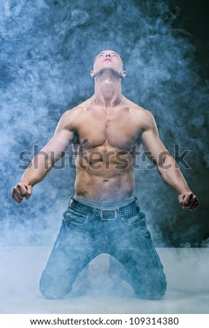 Muscle sexy naked young cute man - stock photo